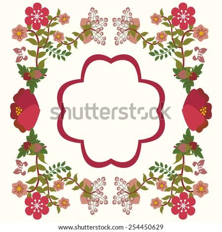 Vector background vintage  hand-drawn botanical flower frame - Illustration - stock vector