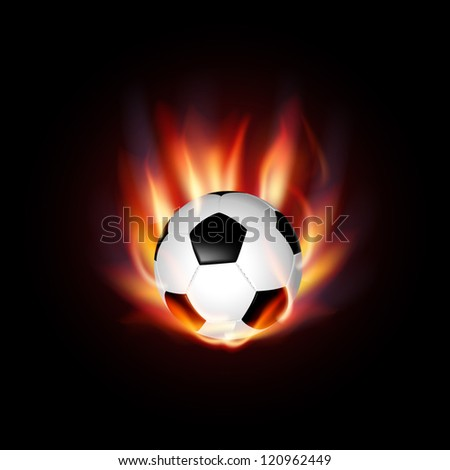 Vector background with a burning football Ball - stock vector