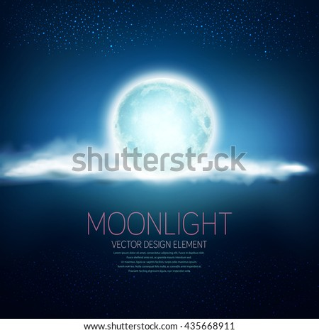 vector background with a full moon and clouds on a dark blue background - stock vector