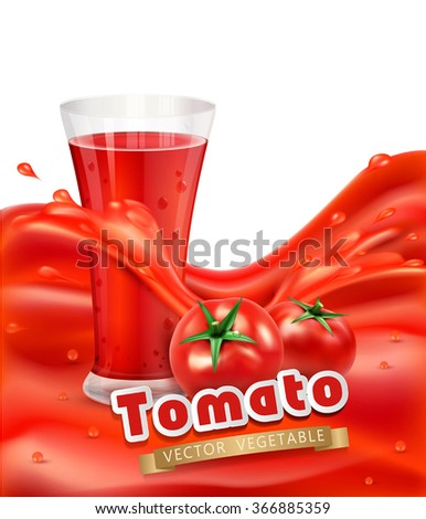 vector background with a glass of tomato juice, tomato. Red juice splash - stock vector