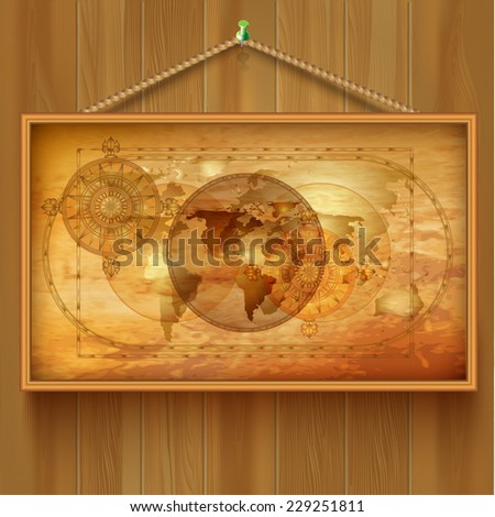 Vector background with a map - stock vector