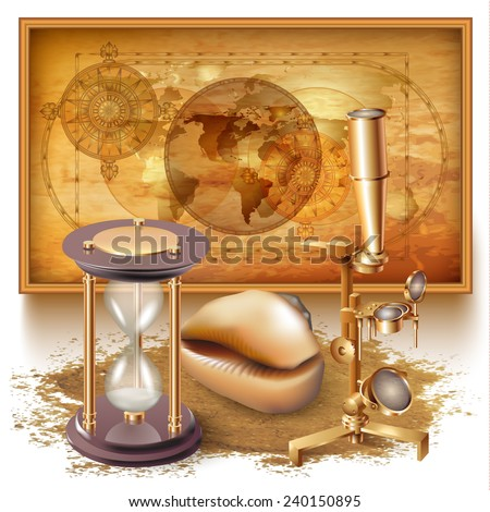Vector background with a map, navigation tools and a conch - stock vector