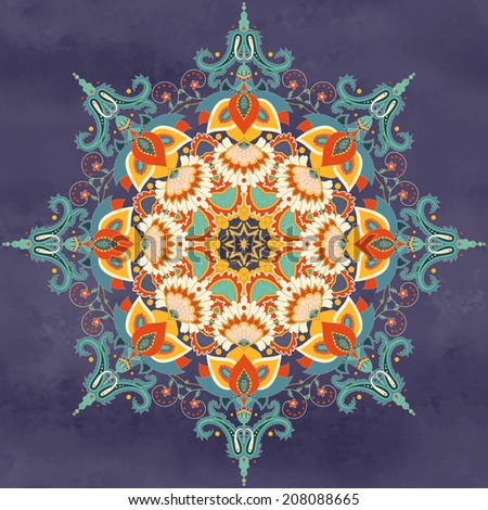 Vector background with a round ornament. Beautiful floral oriental pattern in vintage style with indian traditional flower. Wet watercolor background. Hand drawing. - stock vector