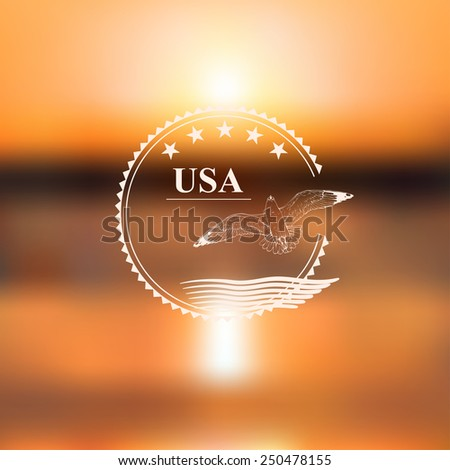 vector background with a seagull and abstract elements of USA flag against a blurred  ocean sunset - stock vector