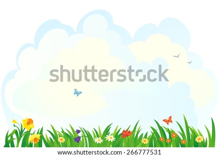 Vector background with a spring grass and flowers - stock vector