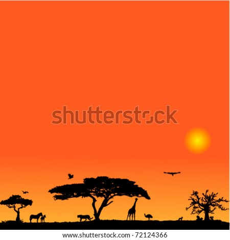 Vector background with African fauna and flora
