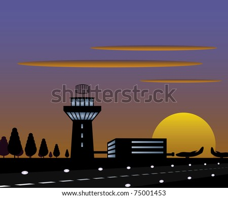 Vector background with airport silhouettes and sunset. - stock vector