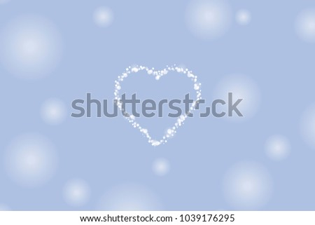 Vector background with an image of a heart made from bubbles with sparkles and twinkling stars on a blue background with pale white spots. Minimalistic vector.