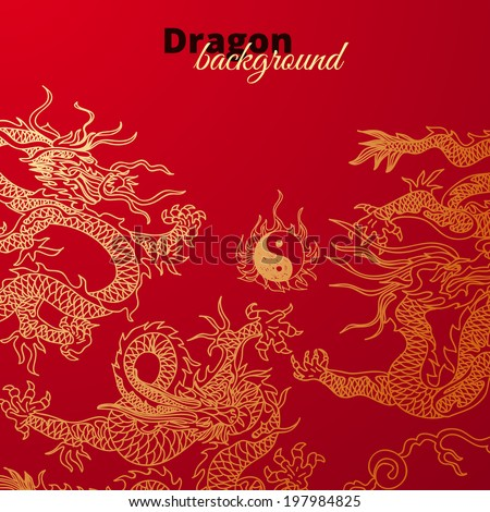 Vector background with asia dragons. Hand drawn illustration. Sketch. - stock vector