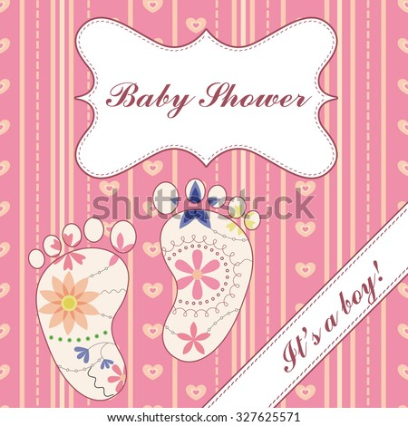 Vector  background with banner and feet baby shower girl vintage