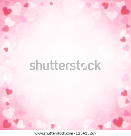 Vector background with beautiful pink hearts - stock vector