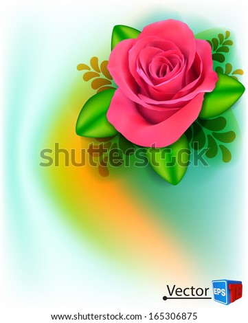 vector background with beautiful pink rose