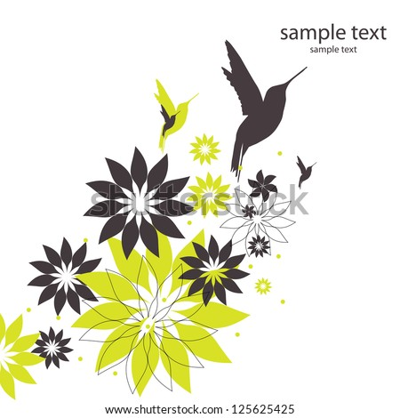 vector background with birds and flowers - stock vector