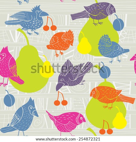vector background with birds and fruit - stock vector