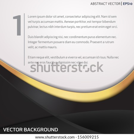 Vector background with black and golden waves - stock vector
