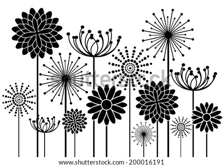 vector background with black flowers silhouettes isolated on white - stock vector