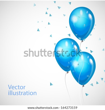 Vector background with blue balloons  - stock vector