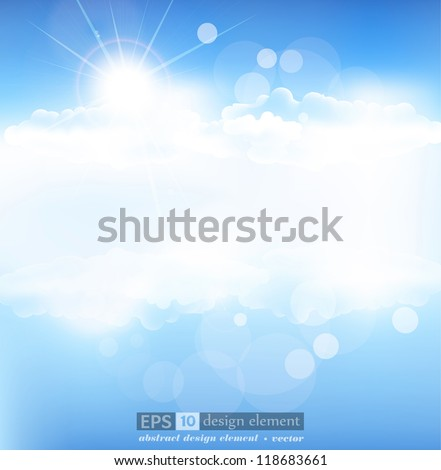 vector background with blue sky and sun with rays - stock vector