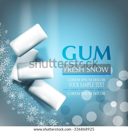 vector background with bubble gum on gray-blue background with snowflakes (imitation 3d)  - stock vector