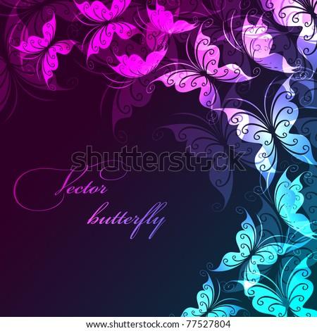 Vector background with butterflies - stock vector