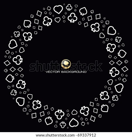 Vector background with card suits. - stock vector