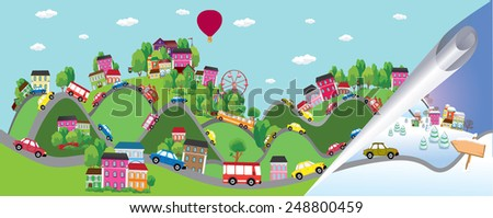 Vector background with cars on the road. Summer and winter - stock vector