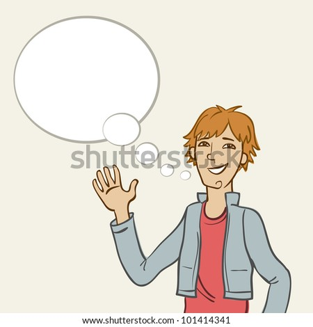 Vector background with cartoon smiling young man and speech bubble . Abstract illustration with personage and text box