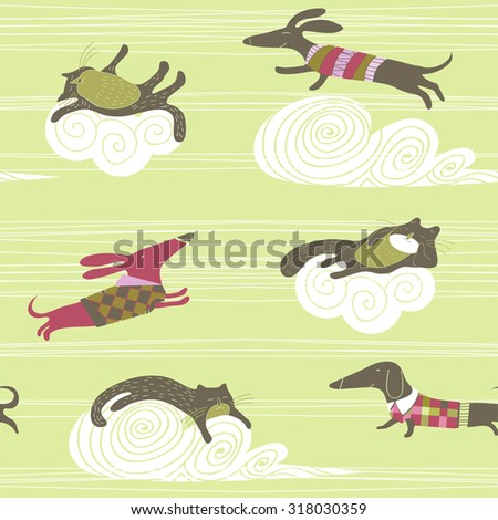 vector background with cats and dogs - stock vector