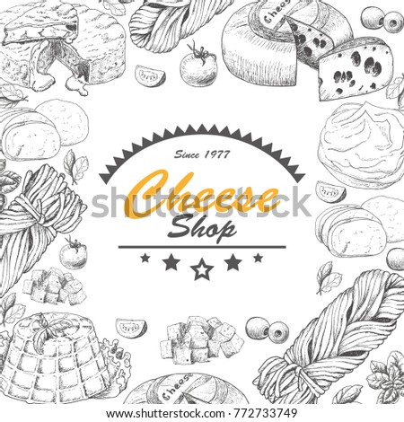 Vector background with cheese products. Vector illustration for your design