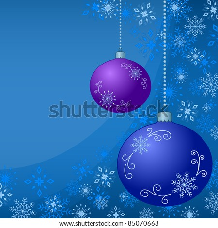 Vector background with Christmas tree decoration and snowflakes - stock vector
