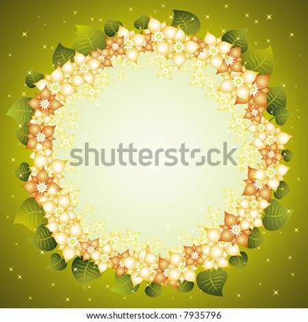 Vector background with circle of many flowers and leafs - stock vector