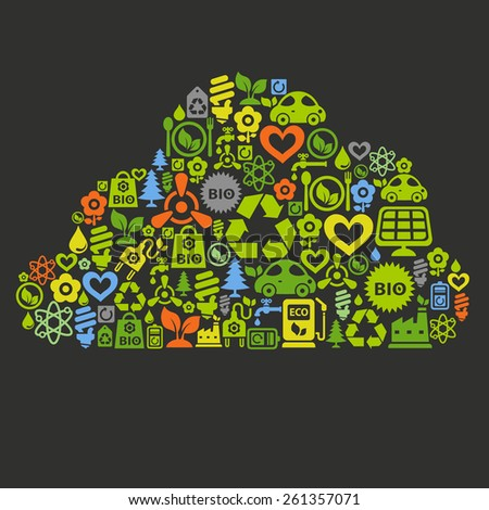 Vector background with cloud shape contained of ecology icons - stock vector