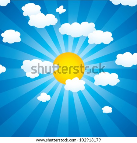vector background with clouds and sun in the sky - stock vector