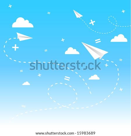vector background with clouds, paper planes and math signs, on blue sky. - stock vector