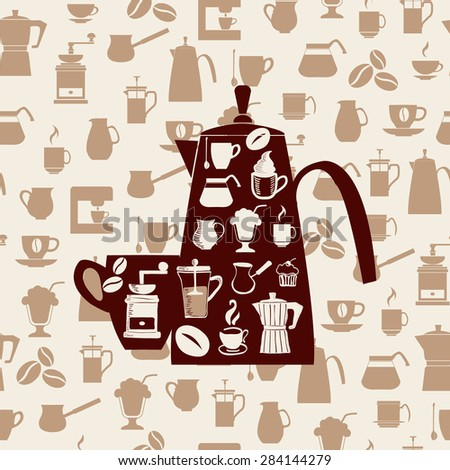 Vector background with Coffee icons Set.Coffee icons silhouette -illustrtion  - stock vector