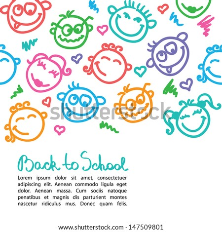 vector background with color funny faces