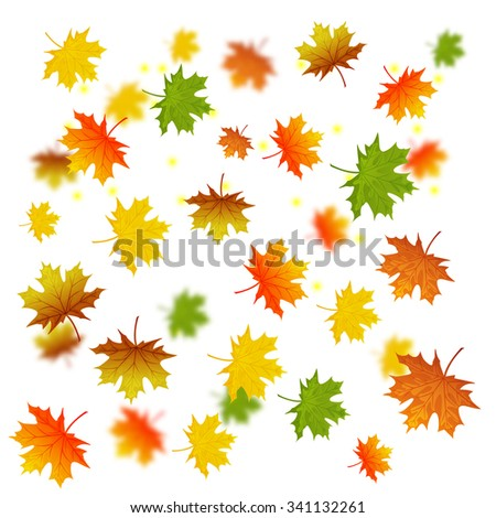 Vector background with colorful autumn leaves - stock vector