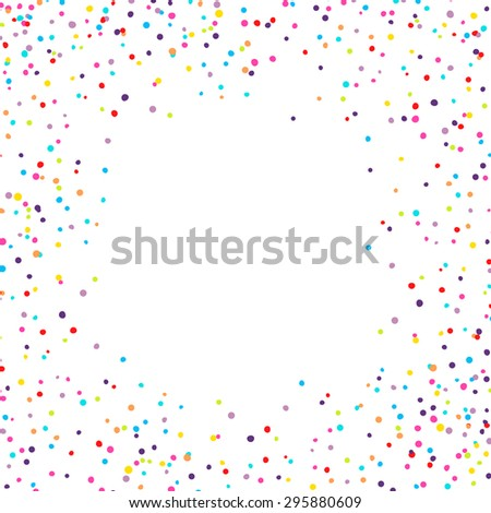 Vector background with confetti tiny round pieces on the sides - stock vector