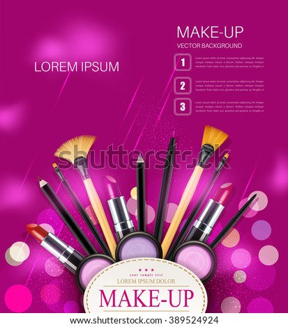 Vector Background Cosmetics Makeup Objects Place Stock Vector Hd