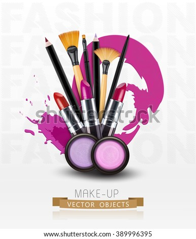 vector background with cosmetics and make-up objects. (Flyer template)