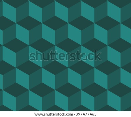 Vector background with cubes. Minimalistic isometrics. Abstract geometric green background - stock vector