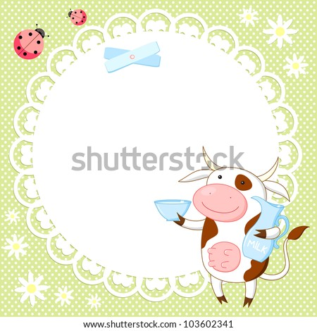 Vector background with cute cow and ladybird
