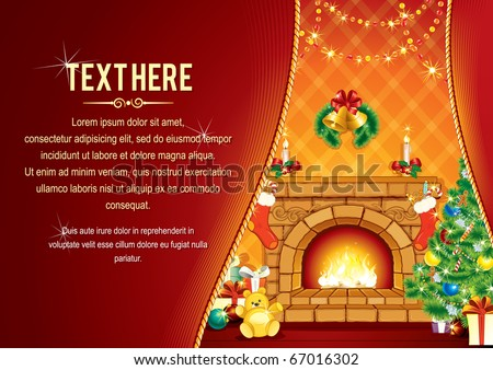 Vector Background with decorated Home room, Christmas tree, Festive Fireplace and Santa's gifts - card ready for your text - stock vector