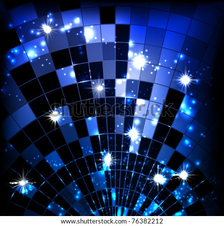 vector background with disco ball - stock vector