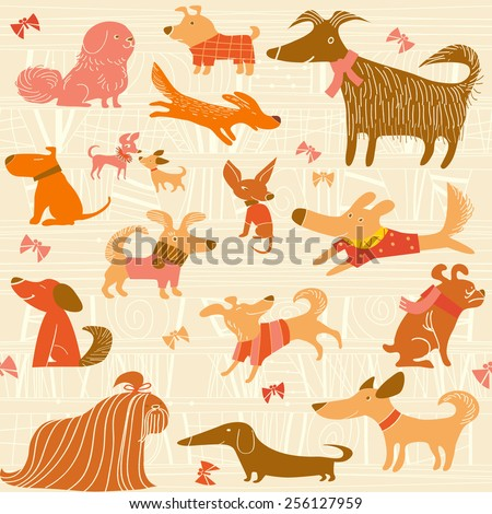 vector background with dogs - stock vector