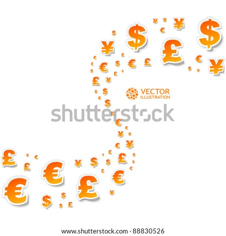 Vector background with dollar, euro, yen and pound signs. - stock vector