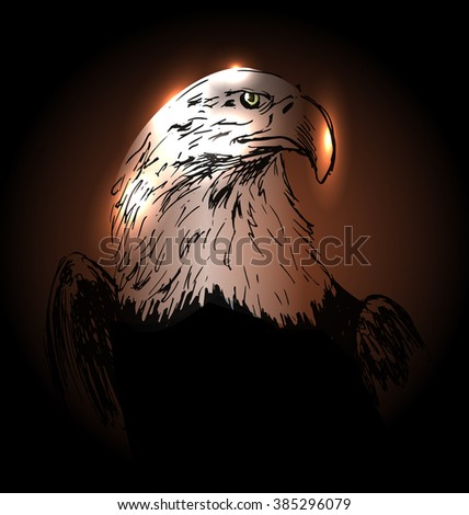 Vector background with drawing eagle - stock vector