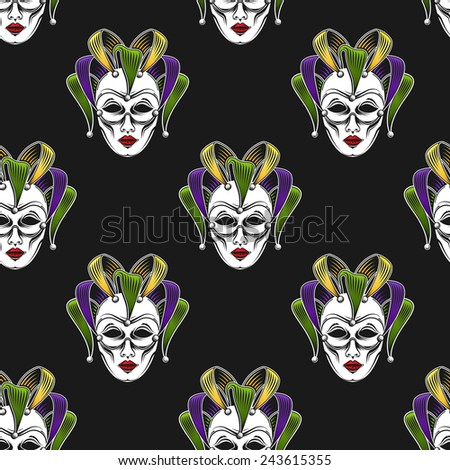 vector background with engraving Mardi Gras or Shrove Tuesday carnival mask or jester emblem. seamless pattern - stock vector
