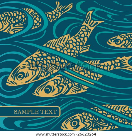 vector background with fish. for CD cover - stock vector