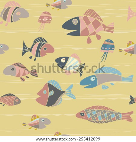 vector background with fishes - stock vector